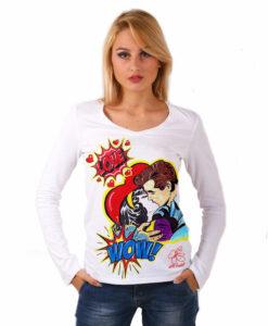 Maglia con scollo a V dipinta a mano - Love, omaggio a Roy Lichtenstein