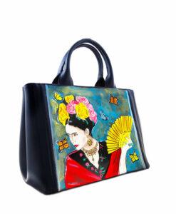 Borsa dipinta a mano – Omaggio a Frida Kahlo