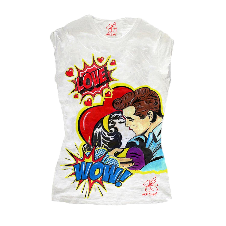 T-shirt dipinta a mano - Love, omaggio a Roy Lichtenstein