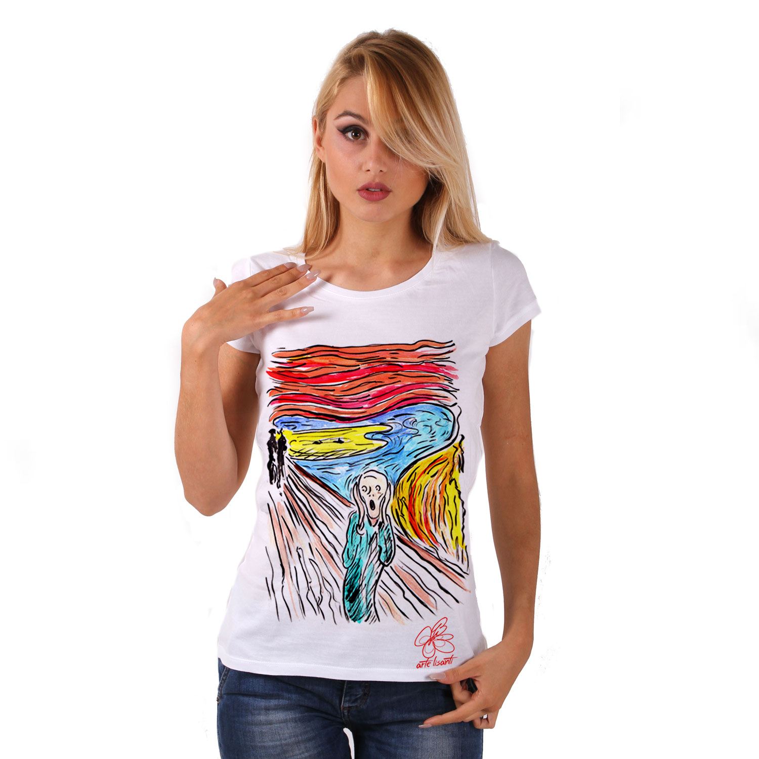 Hand-painted T-shirts - The scream by Munch cartoon color