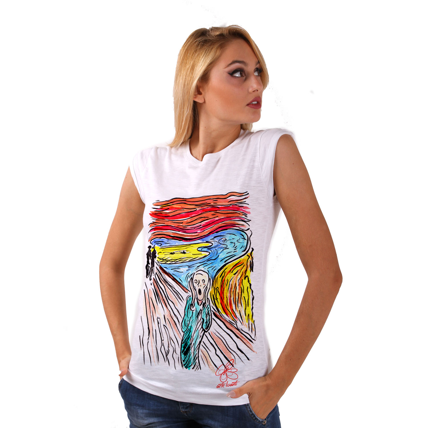 Hand-painted T-shirt - The scream by Munch cartoon color