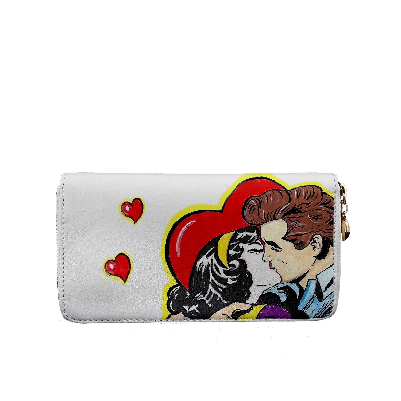 Portafoglio dipinto a mano – Love, omaggio a Roy Lichtenstein