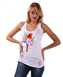 Hand-painted Tank top - Red parrot