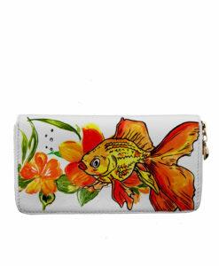 Portafoglio dipinto a mano – Fish and flowers