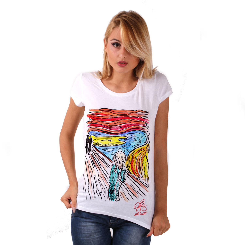 Maglietta dipinta a mano - L'urlo di Munch cartoon color