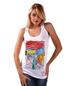 Hand-painted Tank top – The  scream by Munch cartoon color