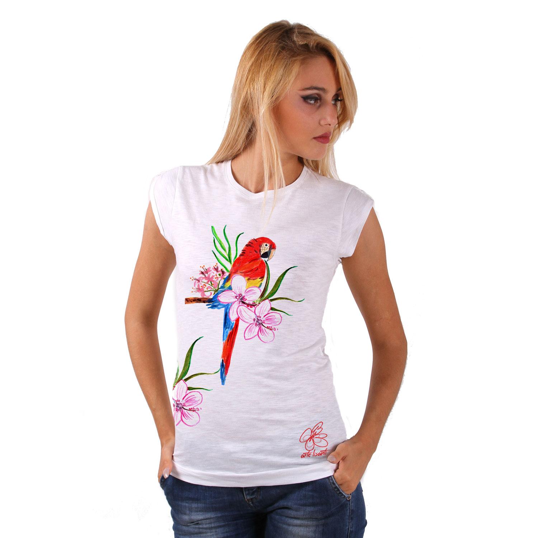 T-shirt dipinta a mano - Red parrot
