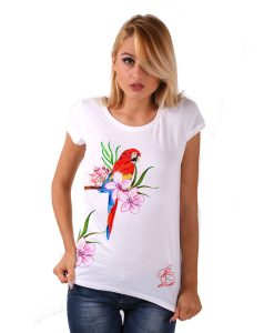 Hand-painted Jersey - Red parrot