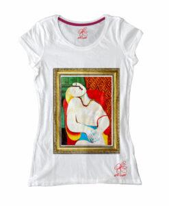Maglietta in cotone dipinta a mano - Il sogno di Picasso