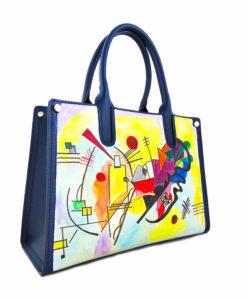 Borsa dipinta a mano – Blu, giallo, rosso di Kandinskij