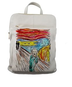 Borsa zaino dipinta a mano – L'urlo di Munch cartoon color