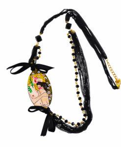 Collana dipinta a mano – Madre e figlio di Klimt