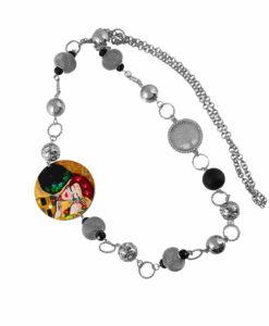 Collana dipinta a mano–Il bacio di Klimt