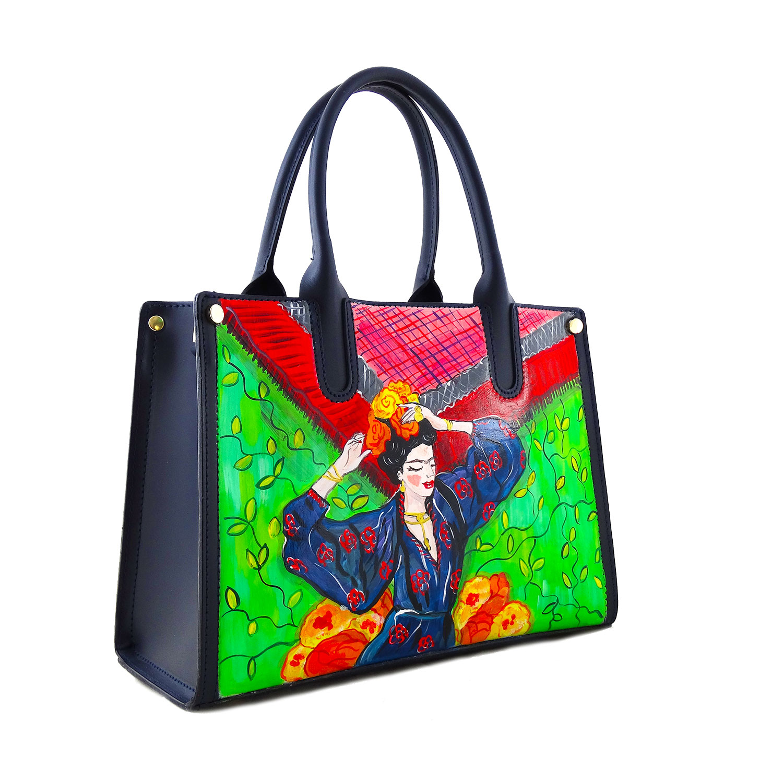 Borsa dipinta a mano –Frida Kahlo nel cuore