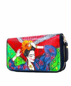 Portafoglio dipinto a mano - Frida Kahlo nel cuore