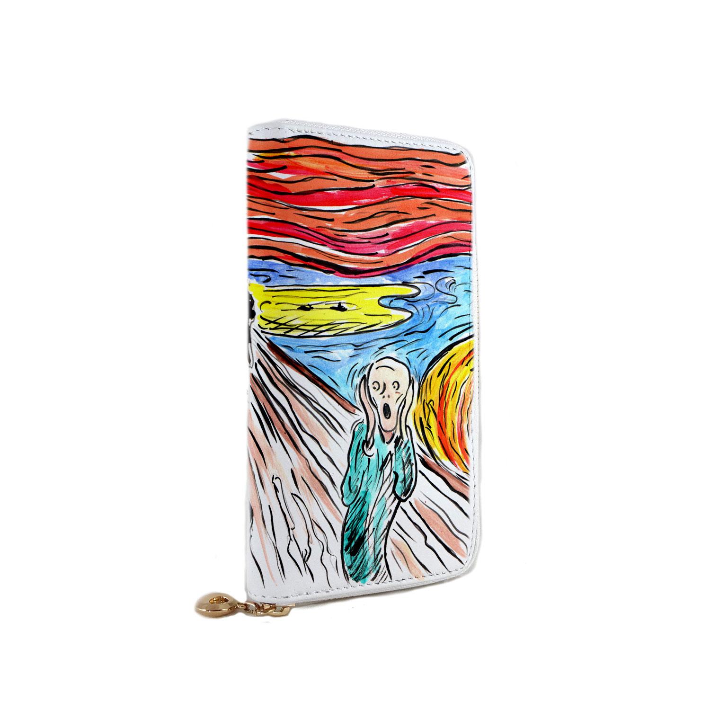Portafoglio dipinto a mano – L'urlo di Munch cartoon color
