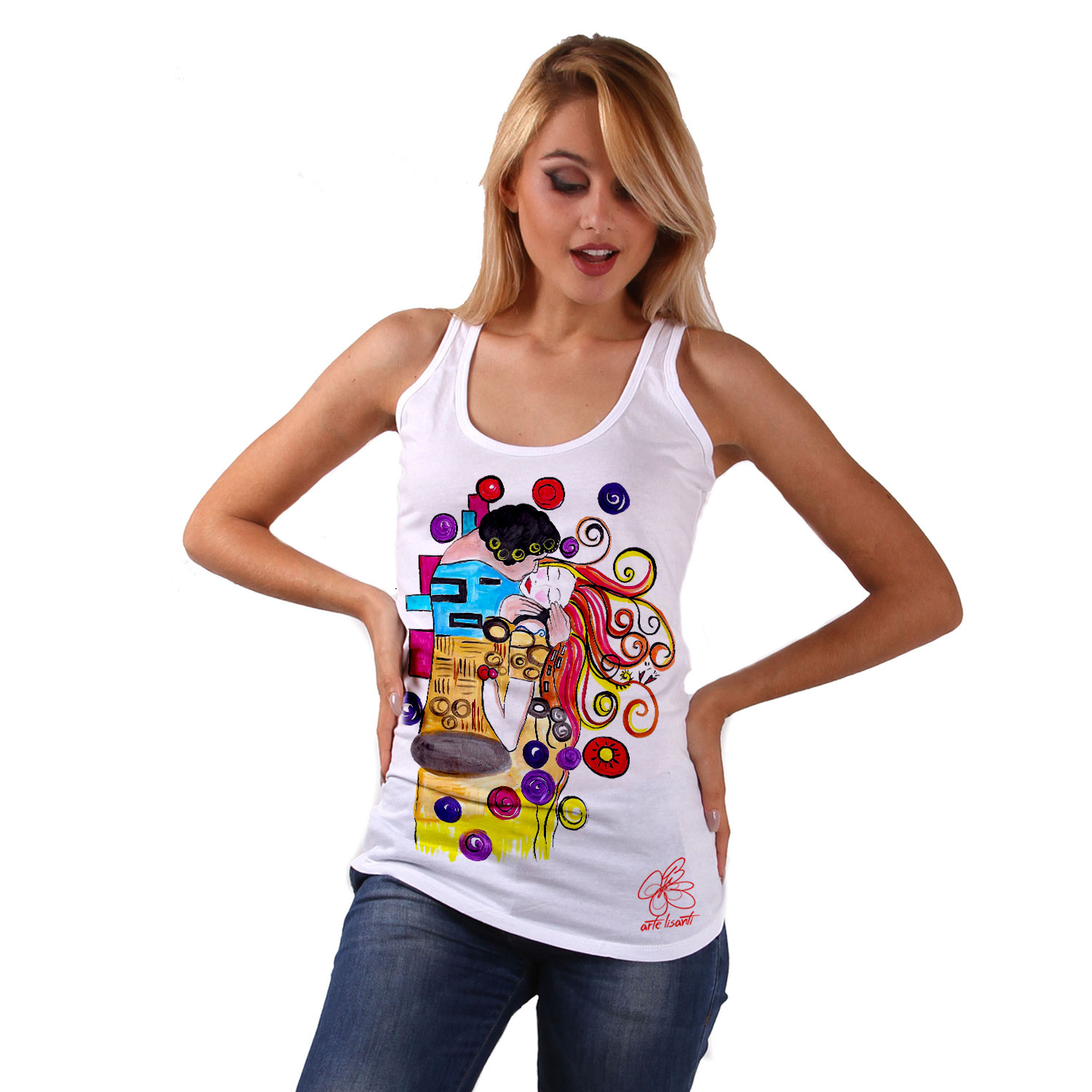 Hand-painted Tank top - Tribute to the Passionate Kiss by Sophie Vogel cartoon color