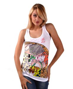 Hand-painted Tank Top - The Kiss by Klimt cartoon color