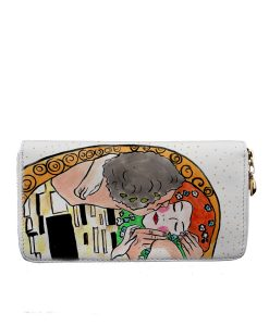 Portafoglio in pelle dipinto a mano – Il bacio di Klimt cartoon color