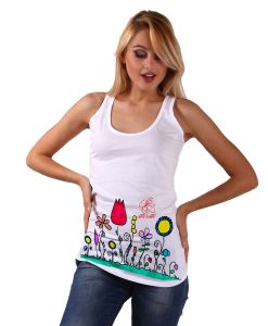 Hand-painted Tank top - Naif flowers