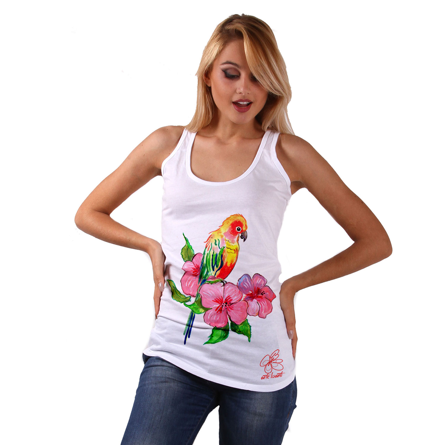 Hand-painted Tank top - Color bird