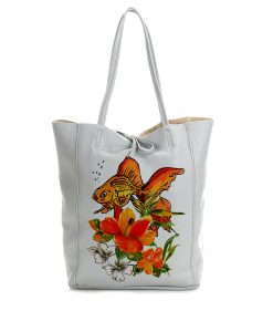 Borsa dipinta a mano – Fish and flowers