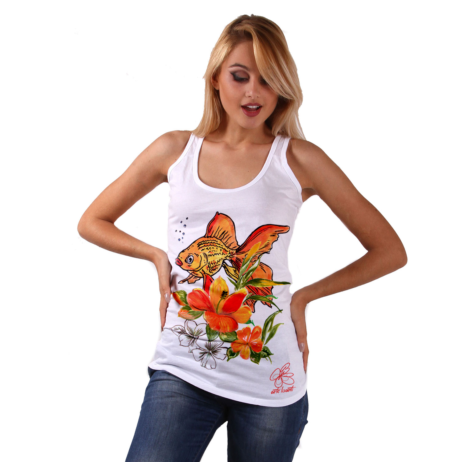 Hand-painted Tank top - Fish and flowers