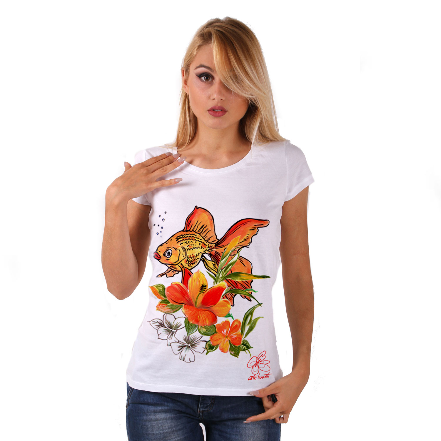 Hand-painted Jersey - Fish and flowers