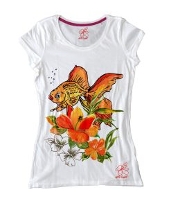Maglietta dipinta a mano - Fish and flowers