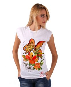 Hand-painted T-shirts - Fish and flowers