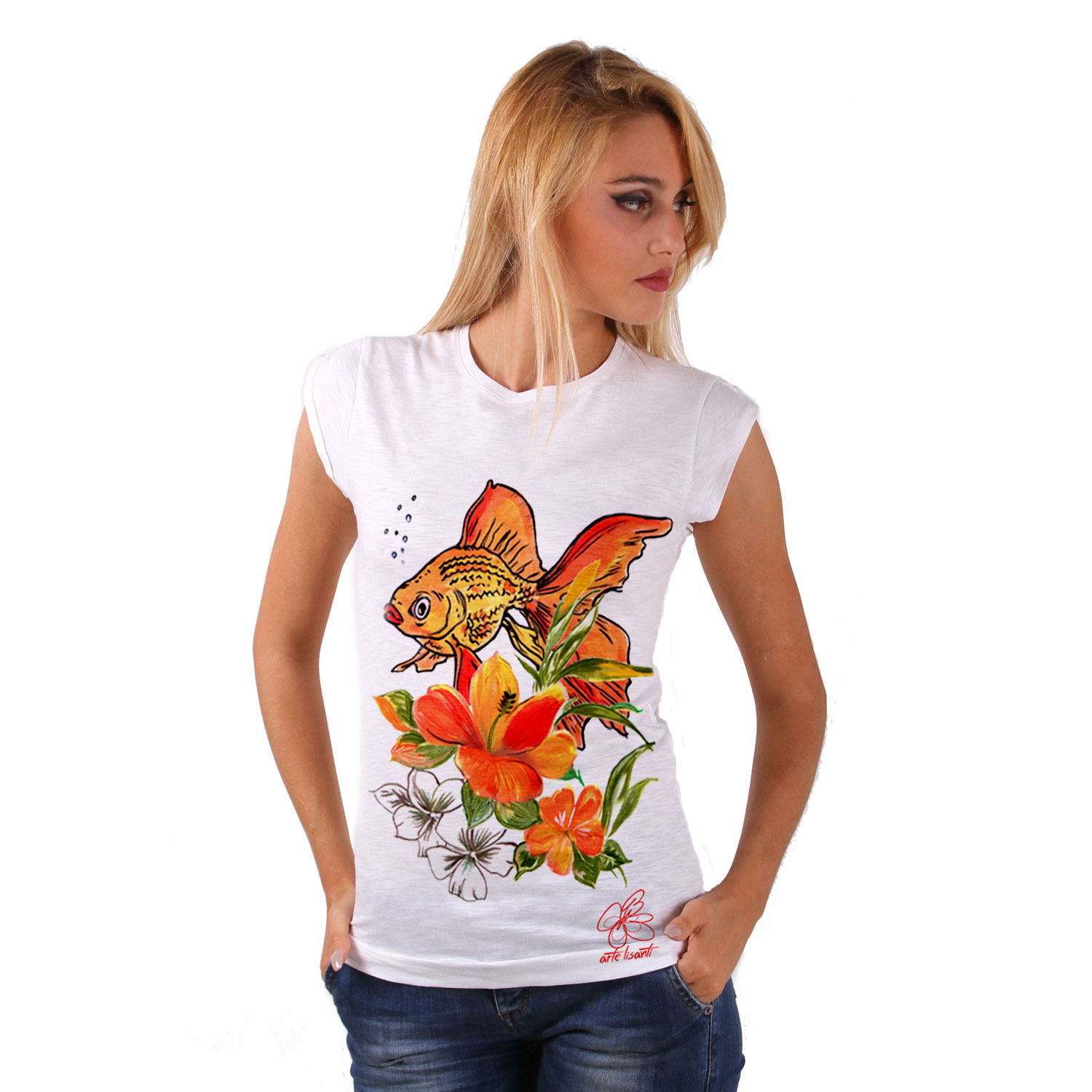 T-shirt dipinta a mano - Fish and flowers