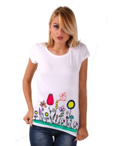 Hand-painted T-shirt - Naif flowers