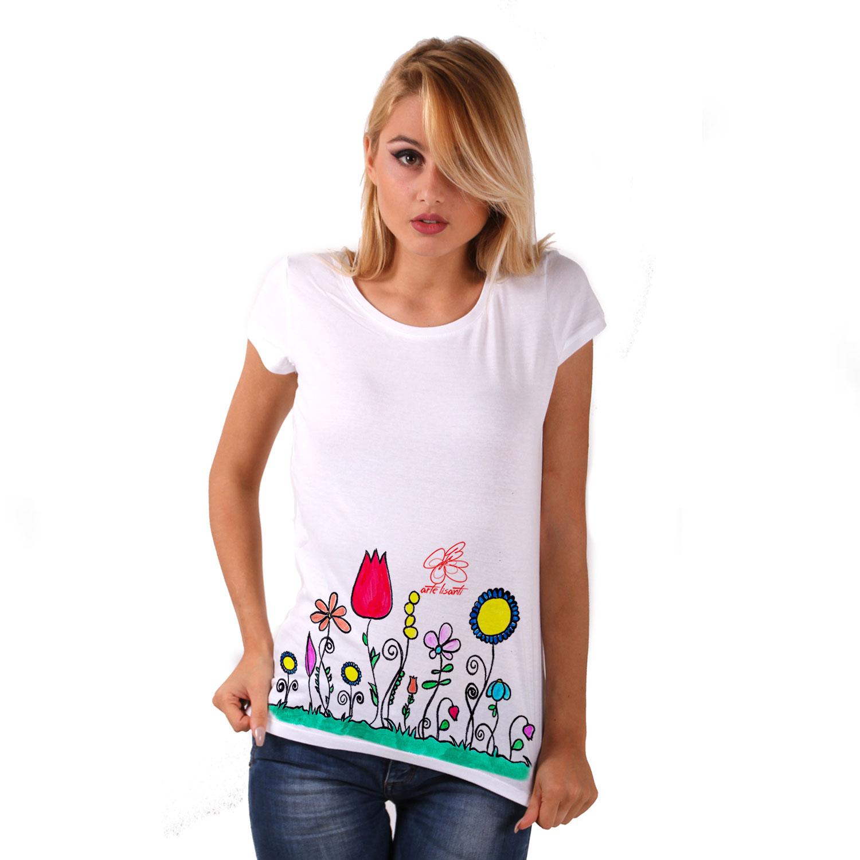 Maglietta in cotone dipinta a mano - Fiori naif