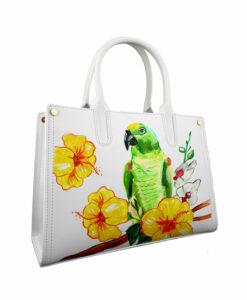 Borsa dipinta a mano – Green parrot