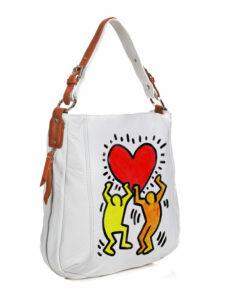 rsa in pelle dipinta a mano - Omaggio a Keith Haring