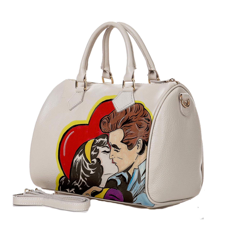 Borsa dipinta a mano – Love, omaggio a Roy Lichtenstein