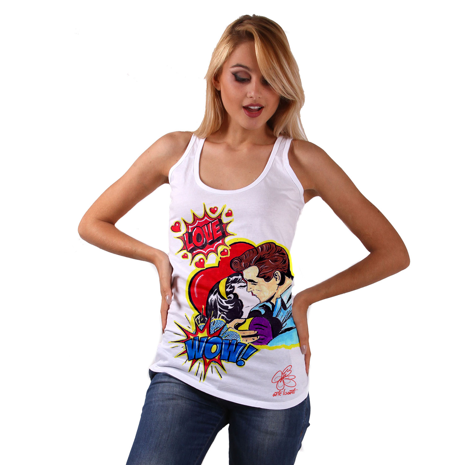 Hand-painted Tank top - Love, tribute to Roy Lichtenstein