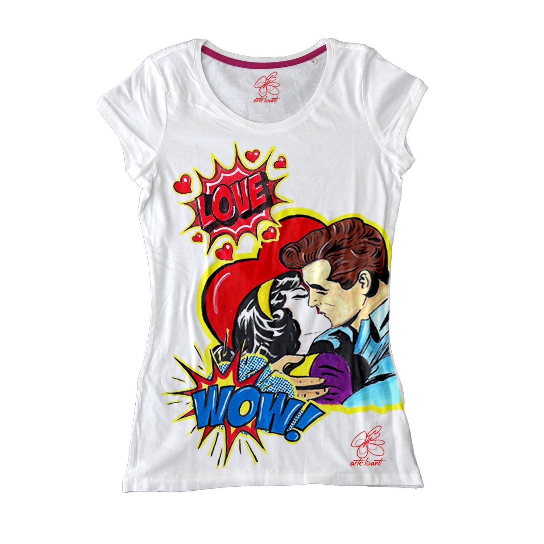 Maglietta dipinta a mano - Love, omaggio a Roy Lichtenstein