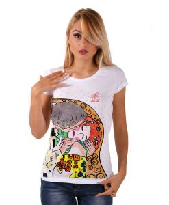 Hand-painted T-shirt - The Kiss by Klimt cartoon color