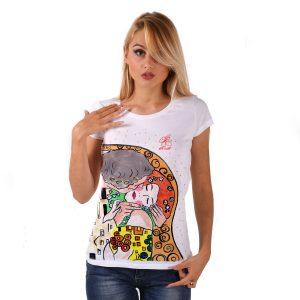 Maglietta dipinta a mano - Il bacio di Klimt cartoon color