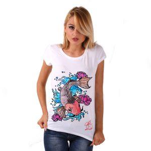 Maglietta in cotone dipinta a mano - Cat fish