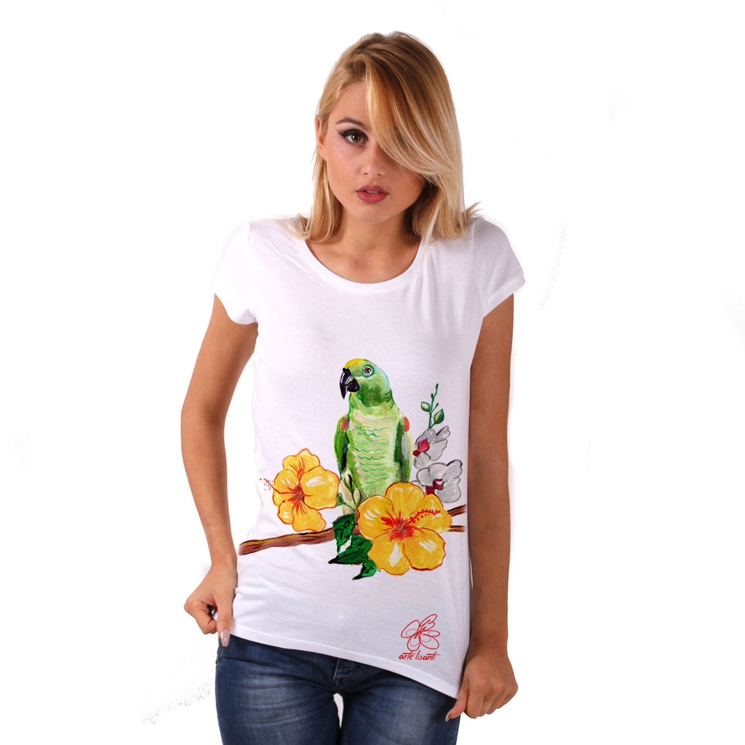 Hand-painted Jersey - Green parrot