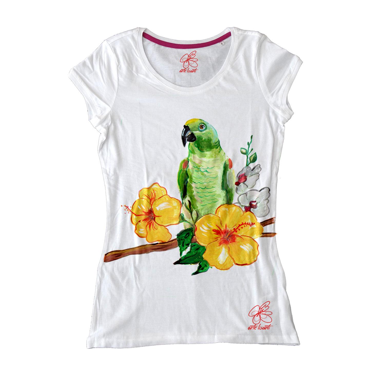 Maglietta dipinta a mano - Green parrot