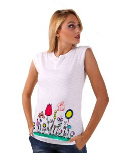 Hand-painted T-shirts - Naif flowers