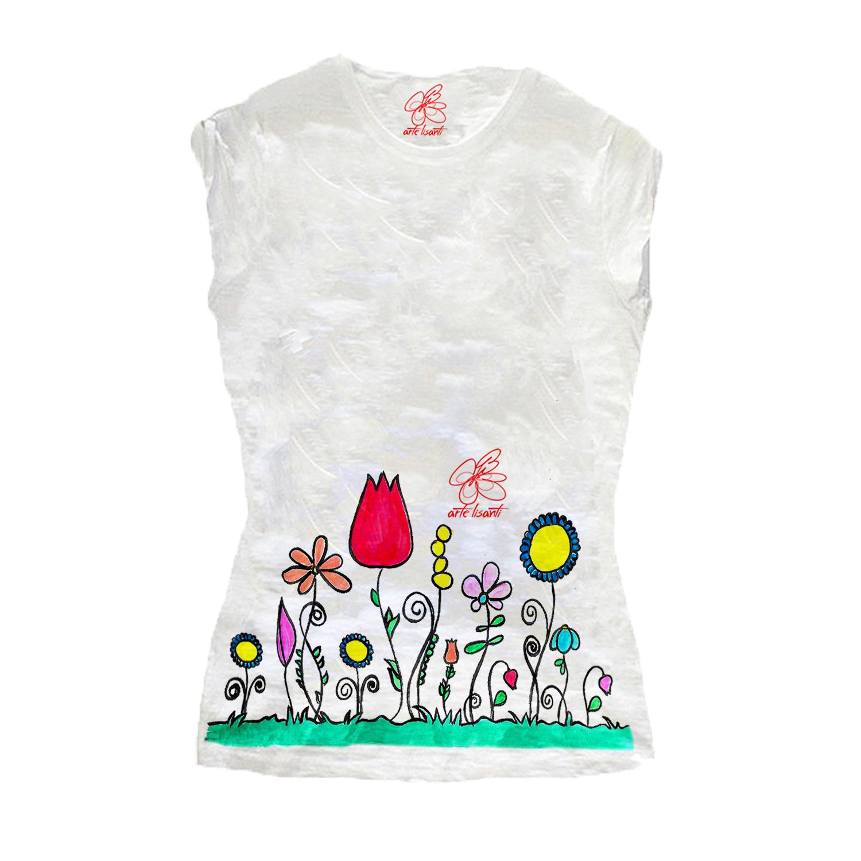 T-shirt in cotone dipinta a mano - Fiori naif
