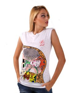 Hand-painted T-shirts - The Kiss by Klimt cartoon color