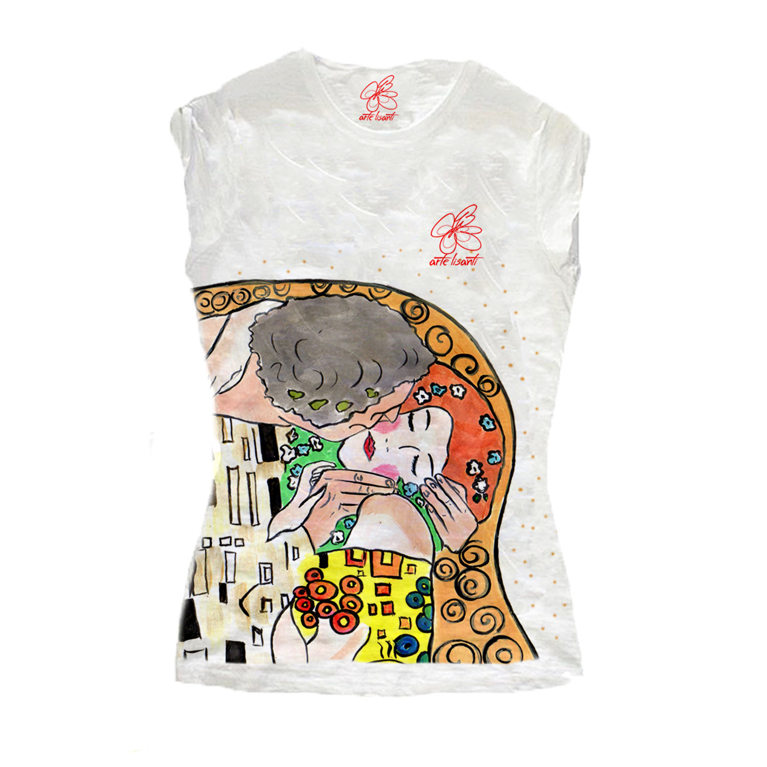 T-shirt in cotone dipinta a mano - Il bacio di Klimt cartoon color