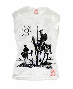 T-shirt in cotone dipinta a mano - Don Chisciotte della Mancia di Picasso