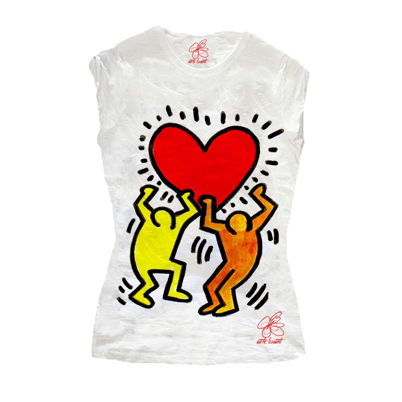 T-shirt dipinta a mano - Omaggio a Keith Haring