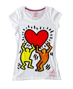 Maglietta dipinta a mano - Omaggio a Keith Haring